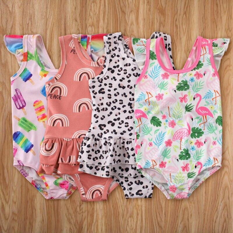 Baby Girls Print One-piece Swimsuit Swimwear Sleeveless Bodysuit Toddler Summer Casual Cotton Swimming Beach Clothes