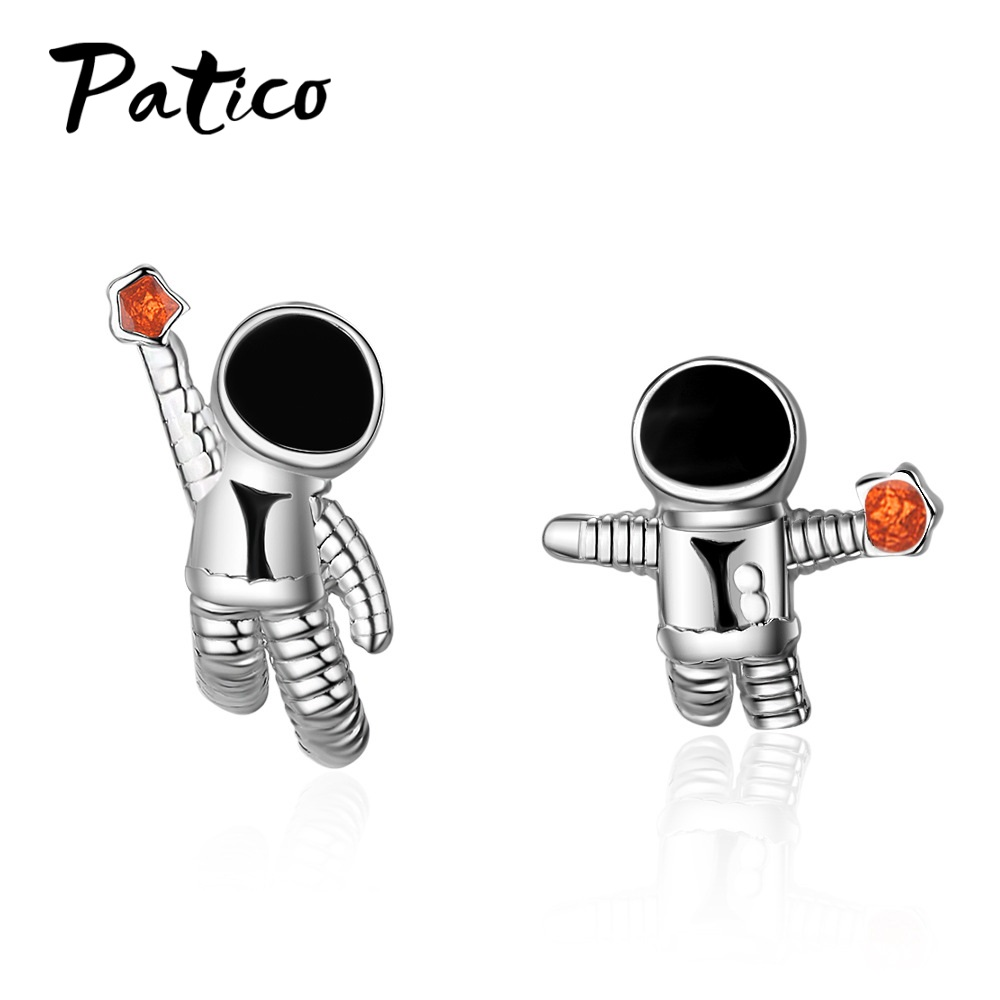Exquisite Cartoon Planet Astronaut 925 Sterling Silver Stud Earrings For Women Trend Creative Party Gift Cubic Zirconia Jewelry