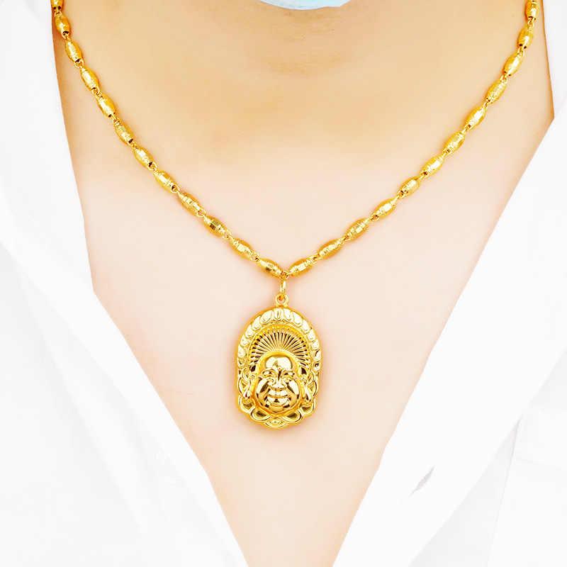 Omhxfc Perhiasan Grosir PN470 Eropa Fashion Wanita Baik Pria Pesta Ulang Tahun Pernikahan Hadiah Buddha 24KT Emas Liontin Pesona