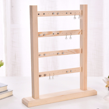 4 Layer Jewelry Display Show Necklaces Stand Storage Practical Holder Findings Wooden Organizer Earrings Rack Hanging Home image