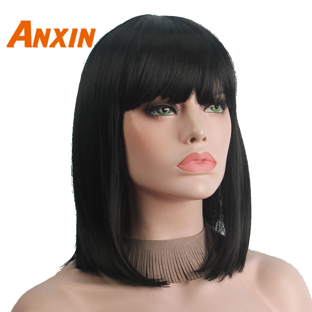 Anxin Medium Body Wave Wig 14''  Black Brown With Bangs Women Party Cosplay Wig
