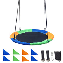 Outdoor Children Swing 100CM Saucer Rotate Tree Nest Swing 660lb Flying Giant Rope Round Swing Kids Hanging Seat Toys