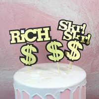 1 Set lindo negro oro rico dólares pastel Toppers Cupcake fiesta de bienvenida para el futuro bebé niños cumpleaños fiesta decoraciones de pastel de boda