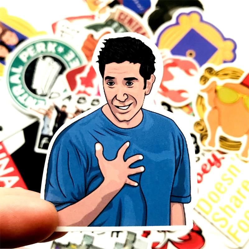 34pcs Friends Tv Show Funny Creative Badges DIY Decorative Stickers Cartoon PC Wall Notebook Phone Waterproof Sunfast Sticker