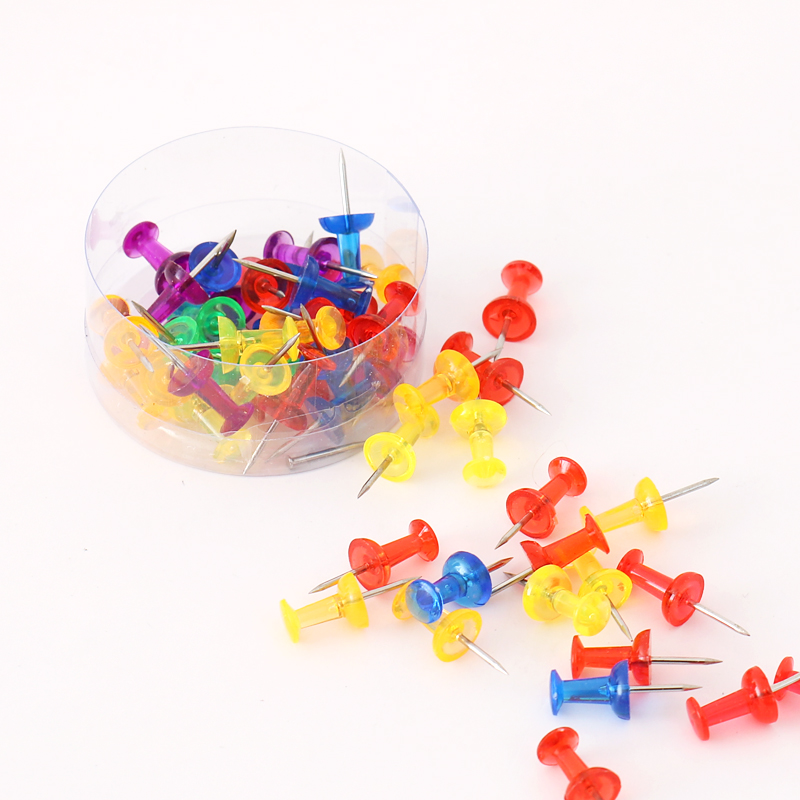 TUTU 50 Pcs/lot Color Thumbtacks Push Pins Map Pin Cork Board Rawing Photo Wall Studs Office School Supplies H0344