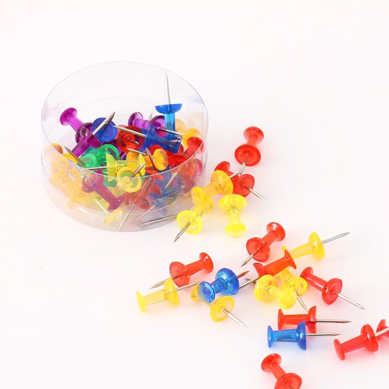 TUTU 50 Pcs/lot Color Thumbtacks Push Pins Map Pin Cork Board Rawing Photo Wall Studs Office School Supplies H0344