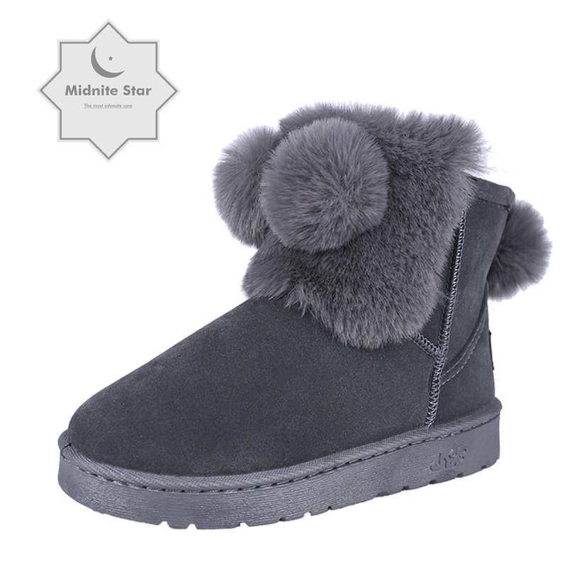 Women Indoor Home Cotton Shoe Autumn Winter Gray Woman Animals Hairball Soft Plush pink Warm Women's shoes snow boots Size 36 40