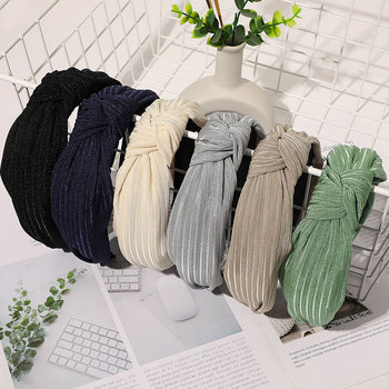 Simple Sweet Striped Cross Headband Fashion Wide Brimmed Women Hair Hoop Style Knotted Hairbands Solid Color Head Hoop Korea Hot image
