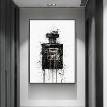 Абстрактный Черный флакон для духов холст живописи плакат и