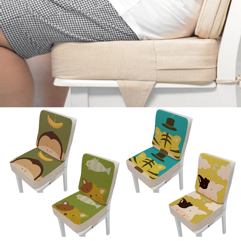 2 Pcs/Set Anti-Skid Cartoon Animal Print Dining Children Cushion Increased Pad Adjustable Removable High Chair Booster