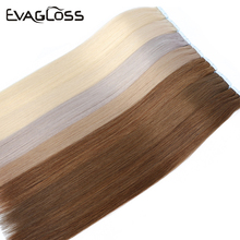 Human-Hair-Extensions Tape-In EVAGLOSS Straight Remy-20pcs Adhesive European-Machine