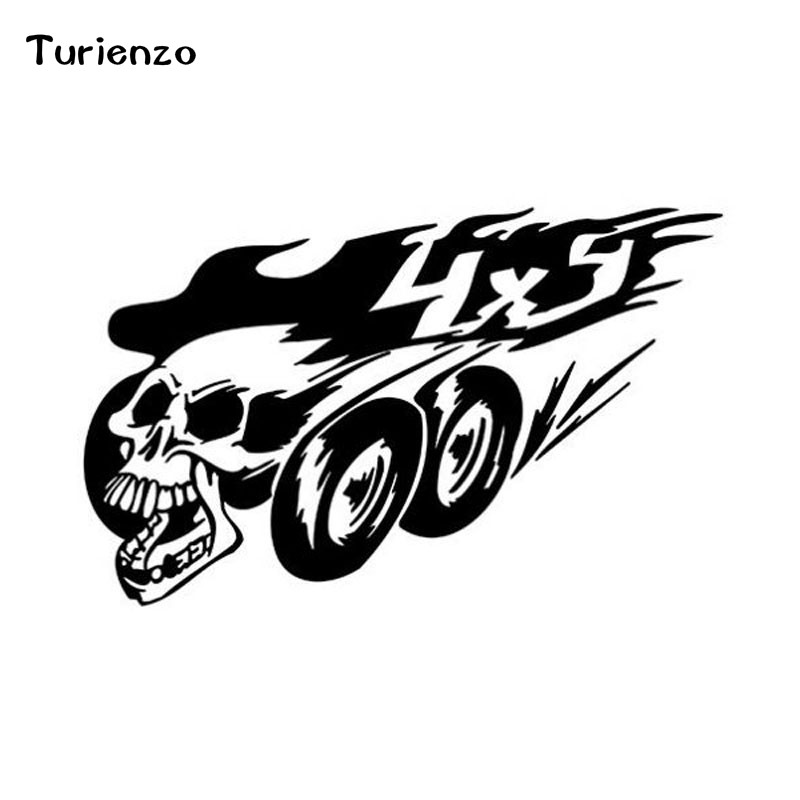 Turienzo 19.3CM*12CM <font><b>Off</b></font> <font><b>Road</b></font> Skull <font><b>4X4</b></font> Personality Car <font><b>Stickers</b></font> Body Vinyl Accessories CT-1301 image