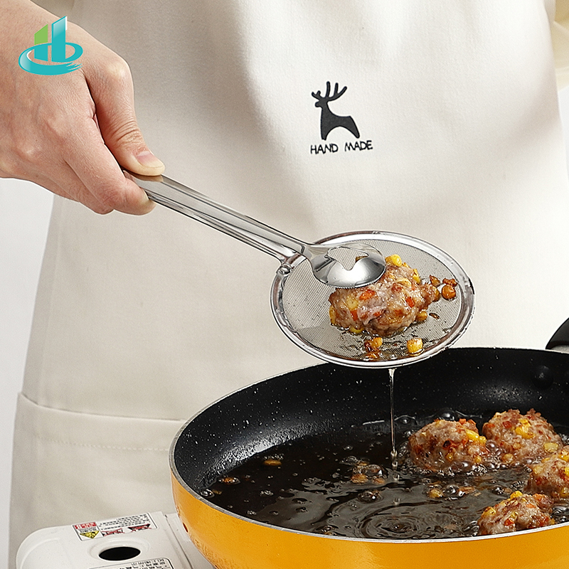 Colander Stainless Steel Food Clip Snack Fryer Strainer BBQ Buffet Serving Tongs Fried Frying Mesh Colander Filter Oil Drainer