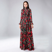 Vintage Long Sleeve Dress Elegant Flower Empire Waist Floor Length Casual Polyester Stand Neck Sexy Ruffle Women Maxi Dresses