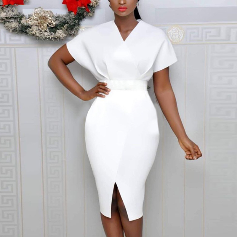 Cheap Price Good White V Neck Knee Length Cocktail Dresses Front Slit Sexy Women Lady Party Gown Black Dress In Stock ESAN247