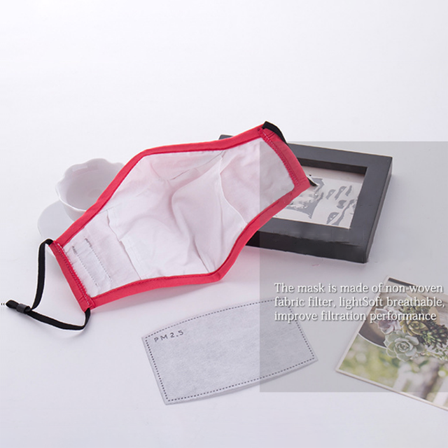 20PCS PM2.5 Korean version Anti-smoke mask cotton mask with breathing valve for men and women two repaceable dust-free filters 1