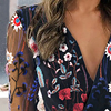 2021 Women's Chiffon Shirt Net Yarn Floral Embroidery Blouse Female Deep V-Neck Long-Sleeved Stitching Casual Women's Blouse 3