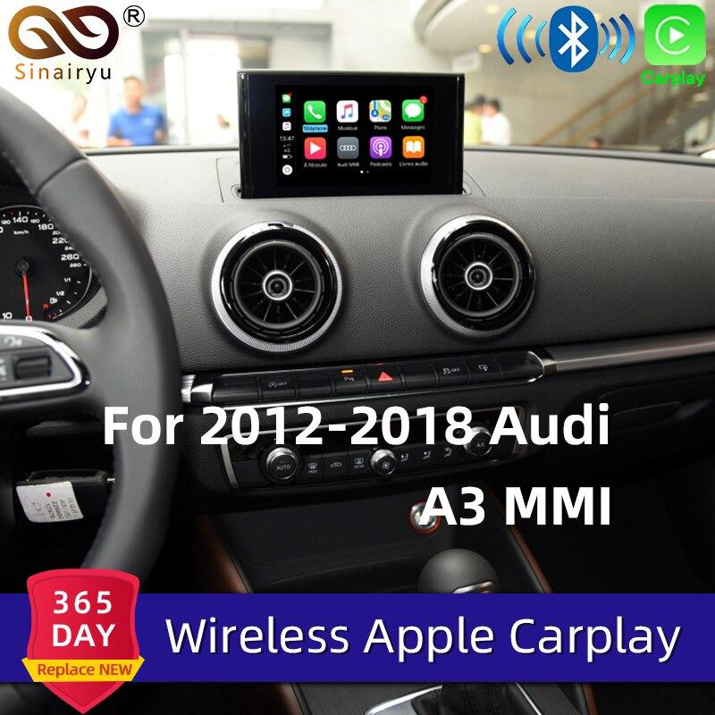 Sinairyu sem fio apple carplay solução para audi a3 3g/3g mmi tela original apoio mirrorlink traseira/câmera frontal