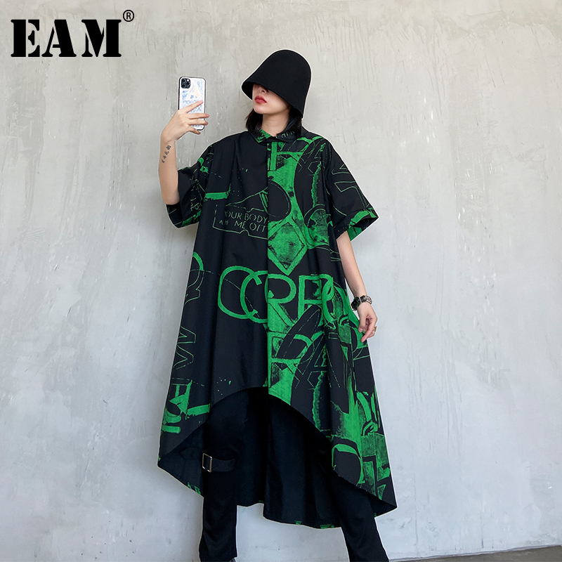 [EAM] Women Black Printed Asymmetrical Big Size Shirt Dress New Lapel Half Sleeve Loose Fit Fashion Spring Autumn 2020 1R785