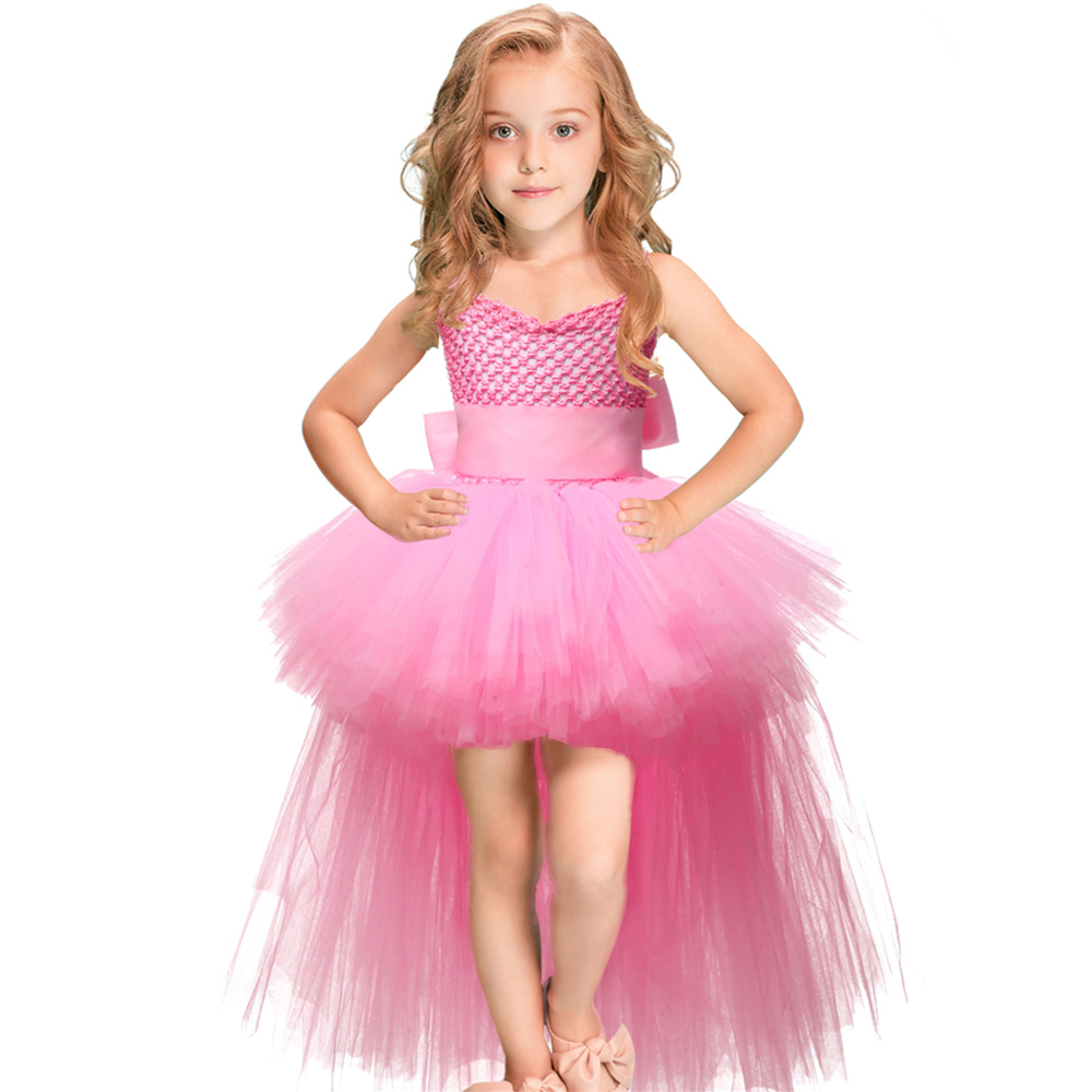 V neck Train Girls Tutu Dress Tulle Flower Girl Dresses Pink Girls Wedding Pageant Ball Gown Children Girl Birthday Party Dressgirls birthday party dressgirls tutu dressgirls dress -