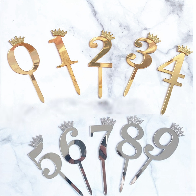 0-9 Numbers Cake Toppers Happy Birthday Cute Crown Number Cake Flag Acrylic Cupcake Topper Birthday Party Cake Decoration Topper(China)
