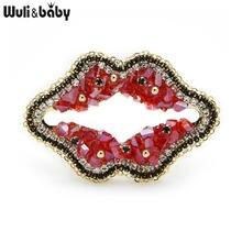 Wuli & baby брошь ручной работы с красными кристаллами в форме