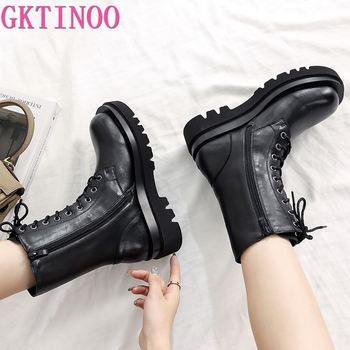 GKTINOO 2021 Genuine Leather Boots Women Shoes Thick Sole Lace Up Autumn Winter Short Ankle For Motorcycle