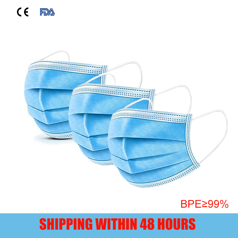 3 Layer Face--mouth-Mask Protection Non-Sterile Mask Respirator Dustproof Facial Protective Cover Masks
