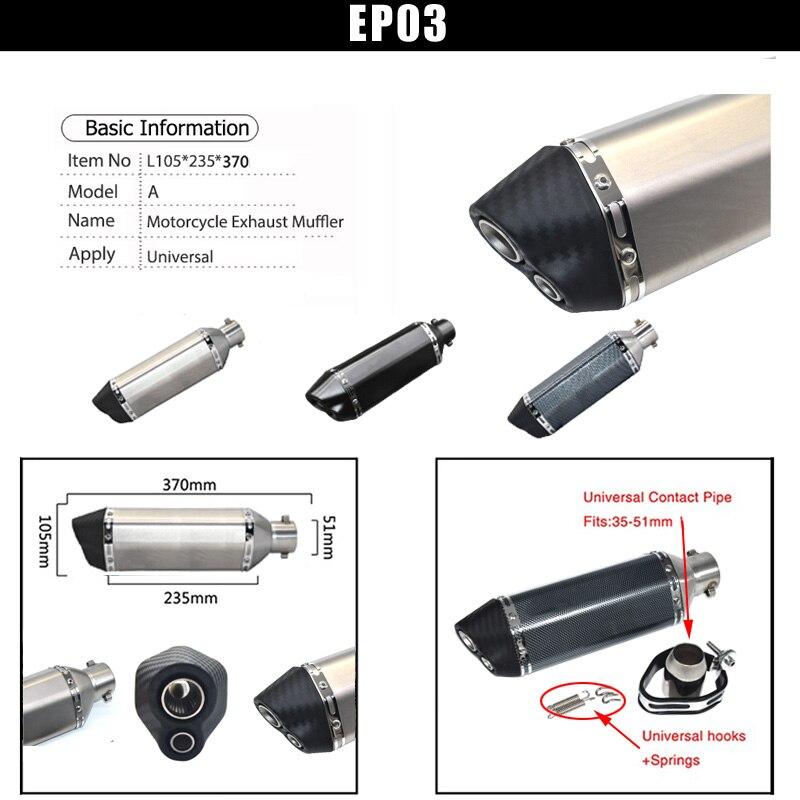 Купить с кэшбэком Motorcycle exhaust muffler escape moto Exhaust Systems db killer silencer exhaust for honda kawasaki R6 MT09 msx125 MT07 pcx155