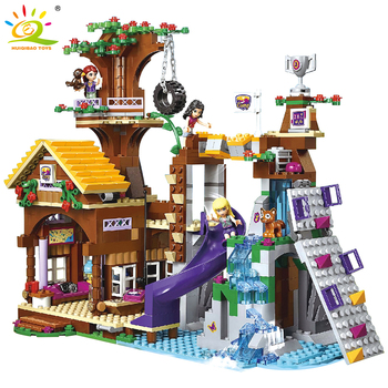 HUIQIBAO 872Pcs Friends Adventure Camp Treehouse Building Blocks City Children's Playground Girl Castle Bricks Educational Toys 983pcs harri castle hall hogwartse express building blocks educational toys compatible with lepining friends city