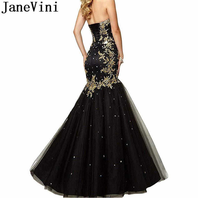 JaneVini Mermaid Party Gown Gold Lace Avondjurk 2019 Sexy Kralen Geappliqueerde Lange Royal Blue Satin Tulle Rok Formele Jurken