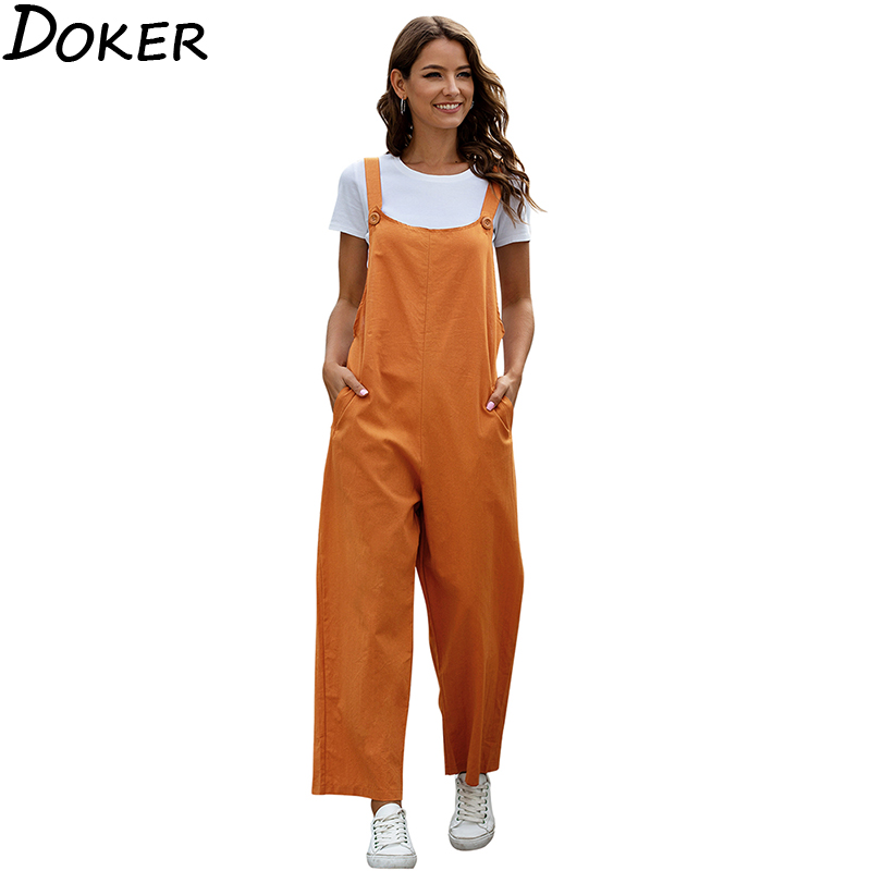 2020 Fashion Women Girls Loose Solid Jumpsuit Strap Dungarees Harem Trousers Ladies Overall Pants Casual Playsuits Plus Size