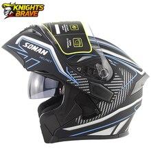 SOMAN Motorcycle Helmet Flip Up Motocross Helmet Capacete Da Motocicleta Cascos Moto Casque Doublel Lens Racing Riding Helmet