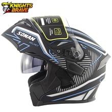 Soman Motorhelm Flip Up Motorcross Helm Capacete Da Motocicleta Cascos Moto Casque Doublel Lens Racing Rijden Helm