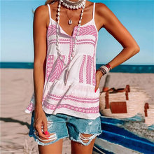 2021 Women Camisole Stripe Printing Tops Tank Shirts Button Sleeveless Sexy T-Shirt Tops Fashion V-Neck Casual Loose Streetwear