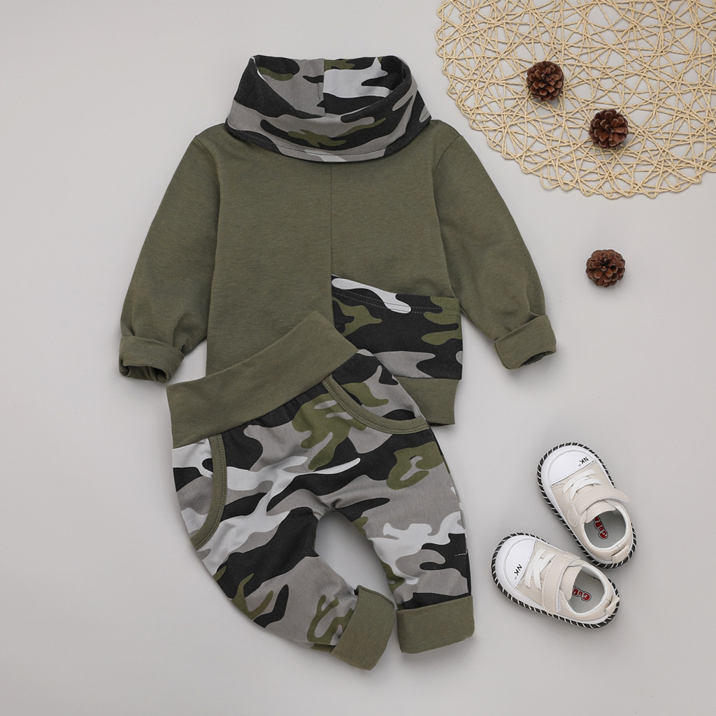 Camouflage Pants Outfits Set Lingery Boys Hoodie Set,Infant Baby Boy Letter Hoodie T Shirt Tops