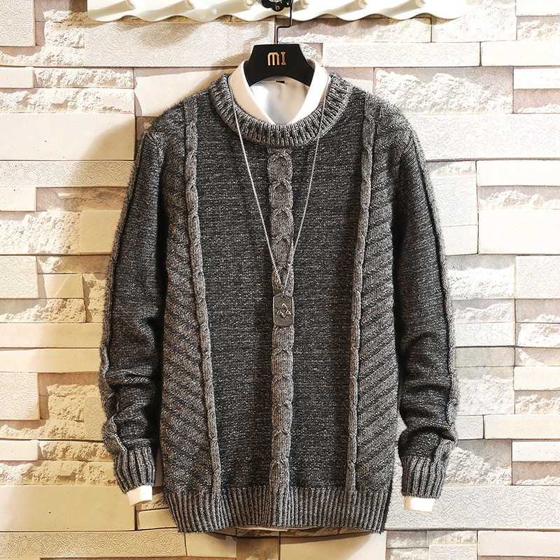 Sweater Men's Warm Fashion Solid Color Casual O-Neck Knit Pullover Men Knitting Sweaters Male Sweter Clothes Large Size M-5XL