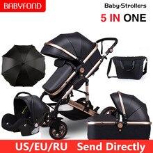 Wózek dziecięcy 5 w 1 Babyfond wysoki krajobraz luksusowe wózki dla noworodka Bebe może usiąść rozkładany dwukierunkowy składany amortyzator
