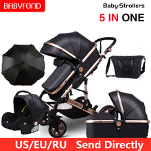 Baby-Stroller Carriages Newborn Luxury Folding Bebe High-Landscape 3-In-1 for Bebe/Can-sit-reclining/Two-way/Folding