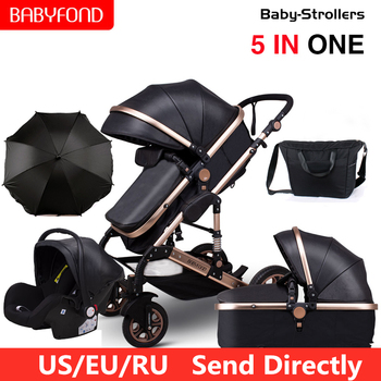 High Landscape Baby Stroller 3 in 1 Luxury Carriages For Newborn Bebe Can Sit Reclining Two-way Folding Shock Absorber Pram image