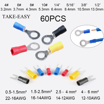 цена на TAKE-EASY 60Pcs Ring Terminals Crimp Connector Wire Terminal Cable Electric Connector Assortment Terminals for Wire Lug Terminal