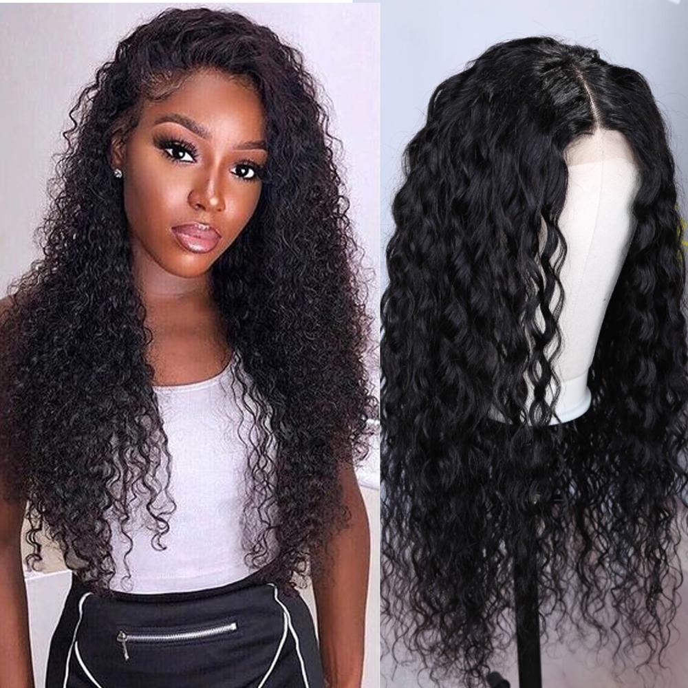 4X4 Lace Closure Human Hair Wigs Brazilian Water Wave Remy Wig Closure Lace Wigs For Black Women Free Ship Natural Black