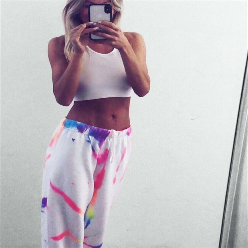 2020 Chic Rainbow Tie Dye White Casual High Waist Pants Women Streetwear Fashion Joggers Exercise Sweatpants Loose Trousers