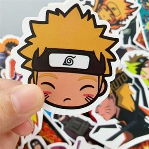 Image 4 - Pegatinas de vinilo de dibujos animados de Naruto sasuke para Snowboard, portátil, equipaje, nevera, coche, estilo japonés, lote de 50 unidades