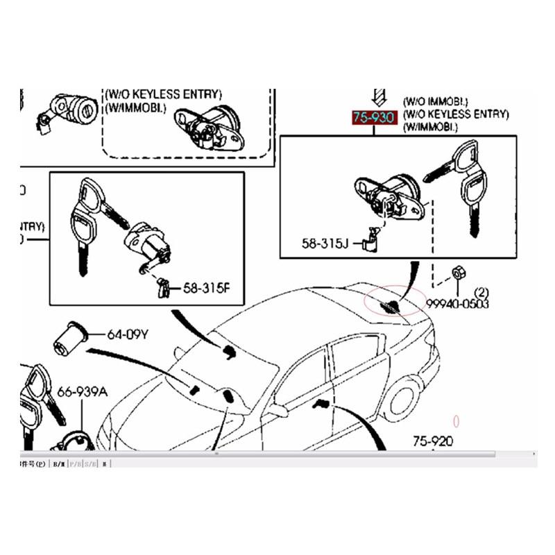 Trunk Lid Lock Latch Key Set Key BNYP-76-230A For Mazda 3 BK 2003 2004 2005 2006 2007 2008