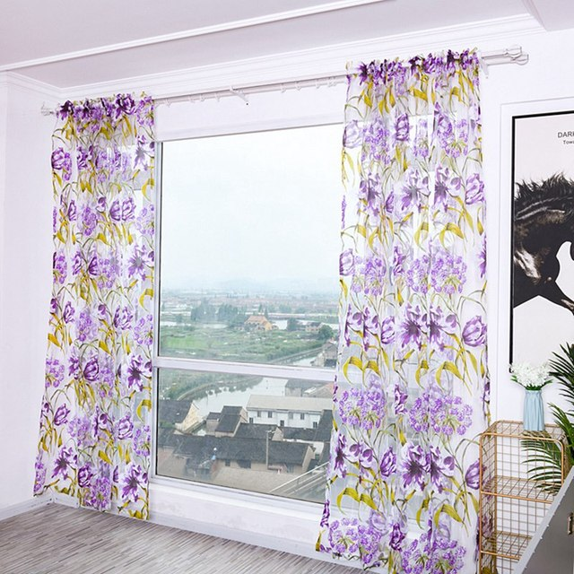 Sheer Curtains Decoration Curtains Drapes Rod Pocket Window