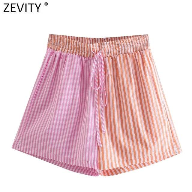 Zevity Women Fashion Patchwork Striped Print Casual Hot Bermuda Shorts Female Chic Elastic Waist Summer Pantalone Cortos P1086 1