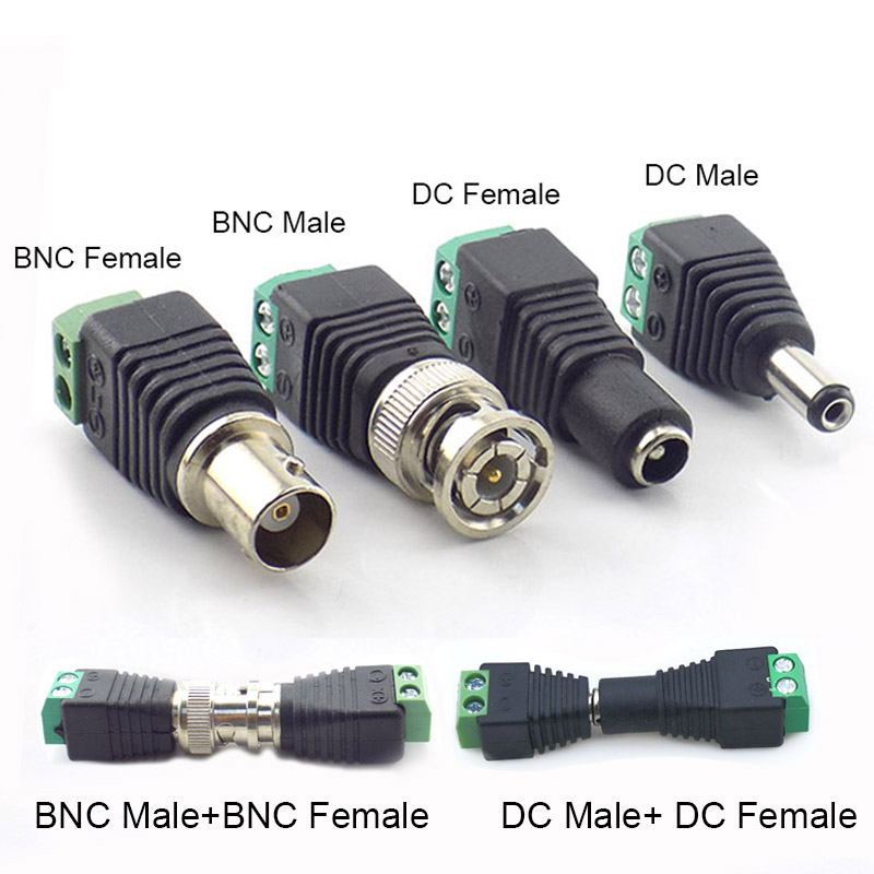 12V DC Power Male Female Jack Adapter Plug Video Balun Converter BNC Connector For Led Strip Light Camera Power Connector