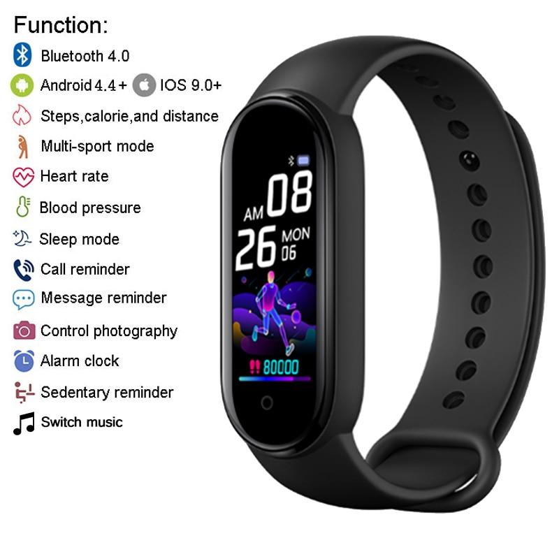 M5 Smart Band uomo donna M5 Smart Watch frequenza cardiaca pressione sanguigna monitoraggio del sonno pedometro connessione Bluetooth per IOS Android 2