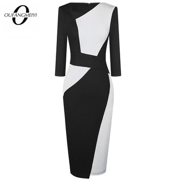 Vintage Women Patchwork Asymmetrical Collar Elegant Casual Work Office Sheath Slim Dress EB517 1